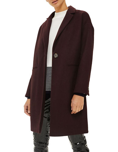 Topshop Milie Relaxed Wool-Blend Coat-BURGUNDY-UK 8/US 4