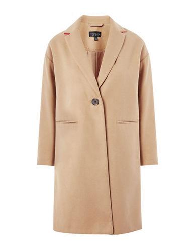 Topshop Milie Relaxed Wool-Blend Coat-CAMEL-UK 12/US 8