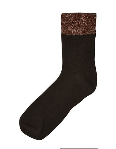 Topshop Womens Glitter Welt Ribbed Ankle Socks-BLACK-One Size