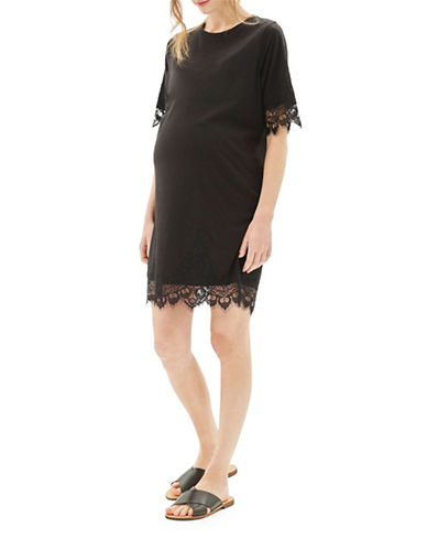 Topshop MATERNITY Lace Petal T-Dress-BLACK-UK 8/US 4