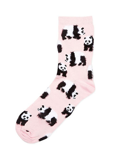 Topshop Fluffy Panda Ankle Socks-PINK-One Size