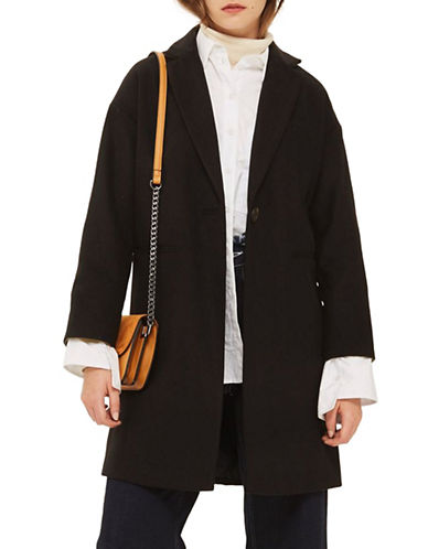 Topshop Milie Relaxed Coat-BLACK-UK 14/US 10