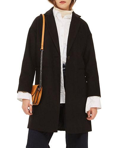 Topshop Milie Relaxed Coat-BLACK-UK 12/US 8