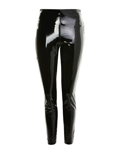 Topshop Percy Vinyl Leggings-BLACK-UK 12/US 8