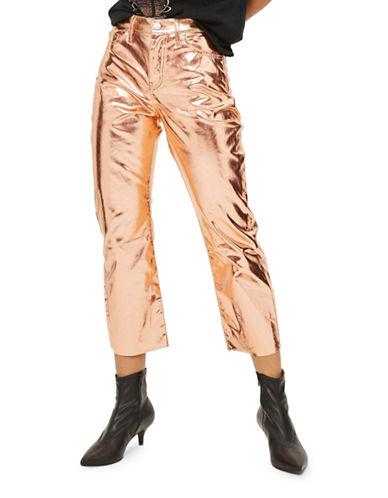 Topshop MOTO Metallic Cropped Kick Flare Jeans 30 Inch Leg-COPPER-26X30
