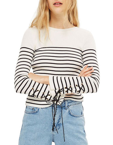 Topshop Eyelet Sleeve Knit Sweater-IVORY-UK 16/US 12