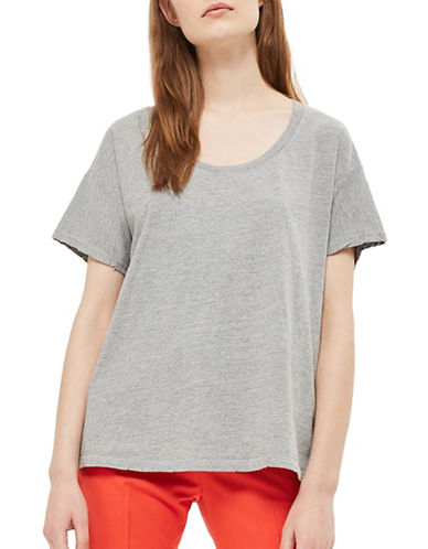 Topshop Washed Scoop Neck T-Shirt-GREY MARL-UK 14/US 10