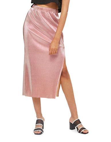 Topshop Mermaid Pleat Midi Skirt-PINK-UK 6/US 2