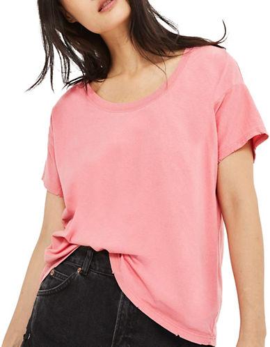 Topshop Washed Scoop Neck T-Shirt-PINK-UK 8/US 4