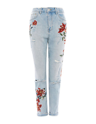 Topshop MOTO Flower Embroidered Mom Jeans 30-Inch Leg-BLEACH-25X30