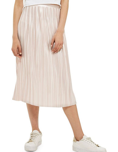 Topshop Metallic Jersey Pleated Skirt-NUDE-UK 12/US 8