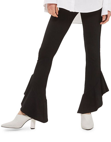 Topshop Mermaid Frill Flared Trousers-BLACK-UK 8/US 4