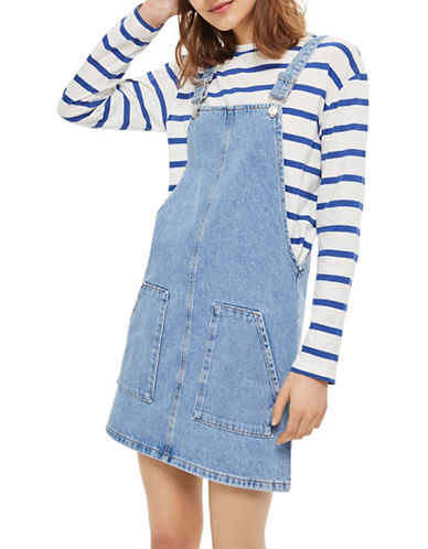 Topshop MOTO Pinafore Dress-BLUE-UK 10/US 6