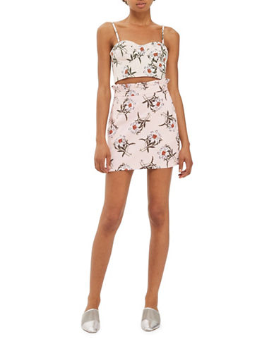 Topshop Daisy Print Mini Skirt-PINK-UK 14/US 10