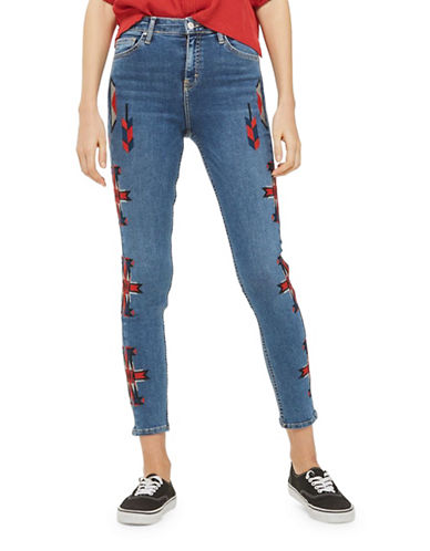 Topshop MOTO Embroidered Jamie Jeans 30-Inch Leg-BLUE-30X30