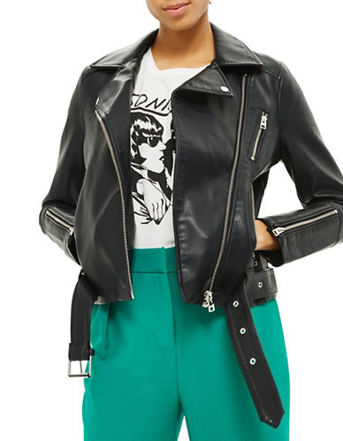 Topshop Faux Leather Biker-BLACK-UK 8/US 4