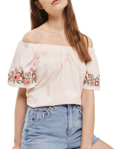 Topshop Embroidered Bardot Top-LIGHT PINK-UK 14/US 10