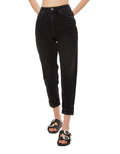 Topshop PETITE Washed Mom Jeans 28-Inch Leg-WASHED BLACK-30X28