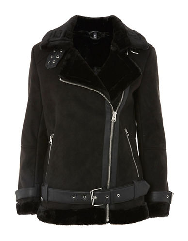 Topshop Cooper Faux Shearling Biker Jacket-BLACK-UK 8/US 4
