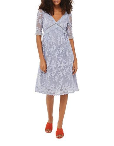 Topshop Flute-Sleeved Lace Midi Dress-LIGHT BLUE-UK 8/US 4