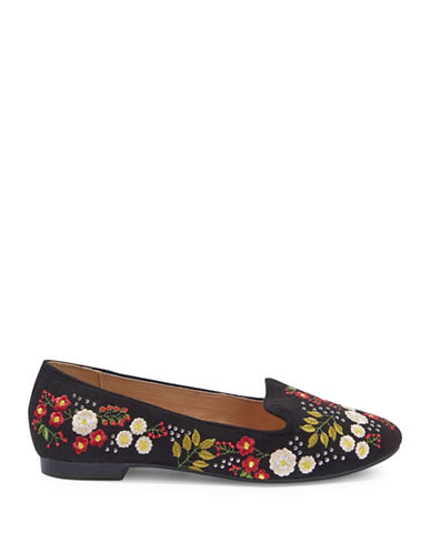 Topshop Sugar Embroidered Slippers-BLACK-EU 36/US 5.5