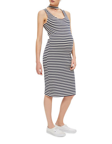 Topshop MATERNITY Stripe Midi Bodycon Dress-MULTI-UK 8/US 4