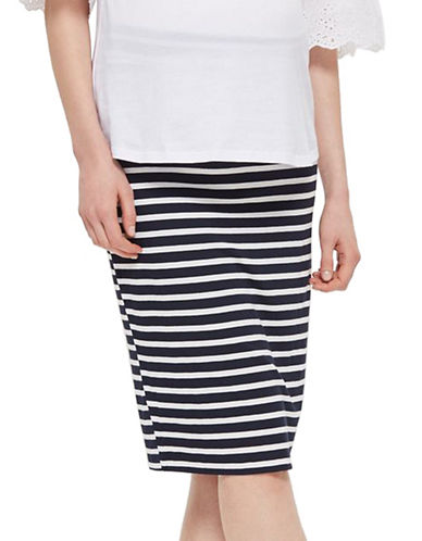 Topshop MATERNITY Stripe Tube Skirt-NAVY BLUE-UK 12/US 8