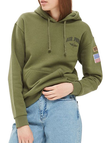 Topshop Airforce Hoodie by Tee & Cake-KHAKI-UK 12/US 8
