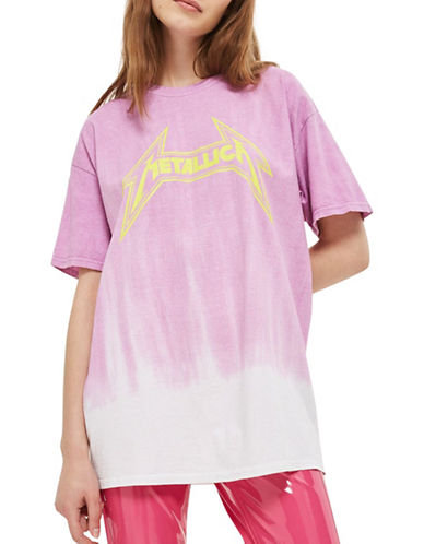 Topshop Metallica Ombre T-Shirt by And Finally-CREAM-Small