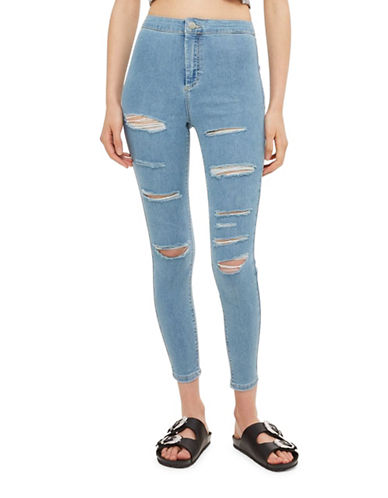 Topshop PETITE Super Rip Joni Jeans 28-Inch Leg-LIGHT DENIM-28X34