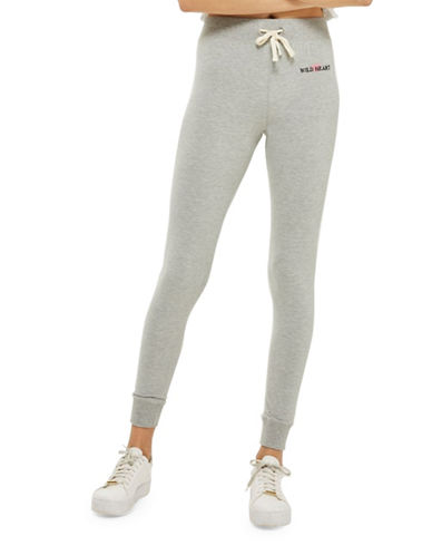 Topshop Slogan Slim Joggers-GREY MARL-UK 8/US 4