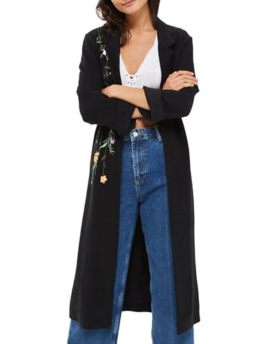 Topshop Floral Embroidered Duster Coat-BLACK-UK 10/US 6