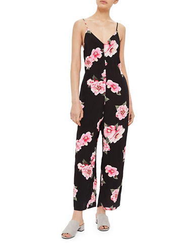 Topshop Floral Jumpsuit-BLACK-UK 10/US 6