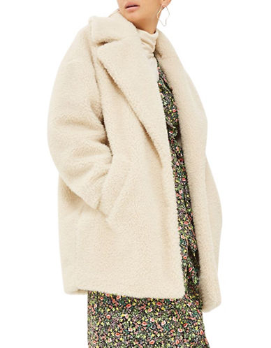 Topshop Borg Faux Fur Cocoon Coat-CREAM-UK 12/US 8