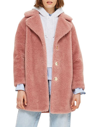 Topshop Borg Faux Fur Cocoon Coat-DUSTY PINK-UK 8/US 4