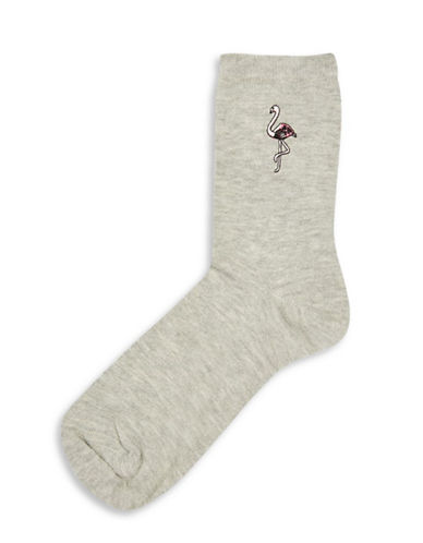 Topshop Embroidered Flamingo Socks-GREY-1