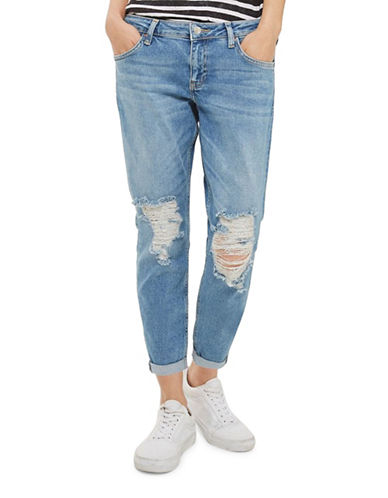 Topshop PETITE Ripped Lucas Jeans 28-Inch Leg-BLUE-25X28
