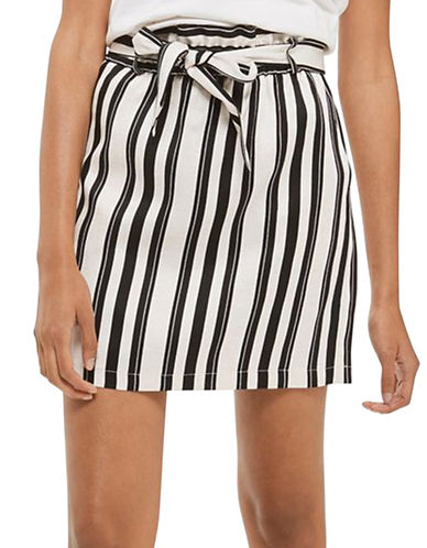 Topshop Striped Paper Bag Skirt-MONOCHROME-UK 6/US 2