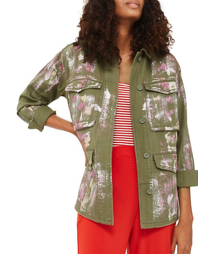 Topshop Metallic Foil Print Shacket-KHAKI-UK 16/US 12