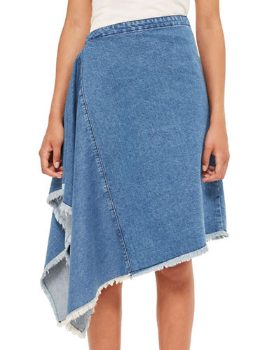 Topshop Side Drape Denim Skirt by Boutique-MULTI-UK 8/US 4