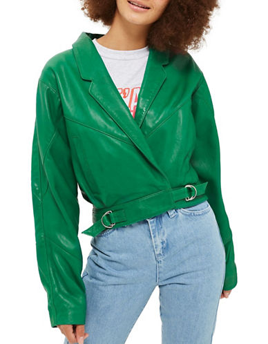 Topshop Maggie 80s Leather Moto Jacket-GREEN-UK 12/US 8