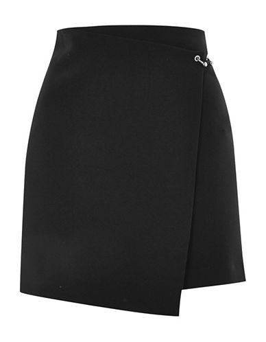 Topshop Ball and Bar Wrap Mini Skirt-BLACK-UK 10/US 6