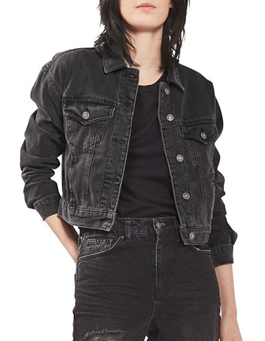 Topshop MOTO Matilda Fitted Western Jacket-WASHED BLACK-UK 12/US 8