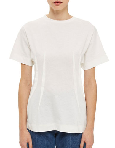 Topshop Pintuck Waist T-Shirt by Boutique-WHITE-UK 10/US 6