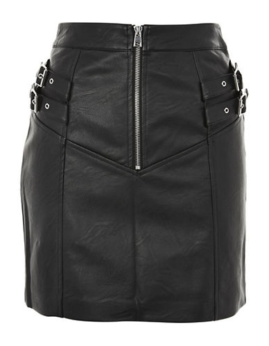 Topshop Double Buckle Zip Mini Skirt-BLACK-UK 6/US 2
