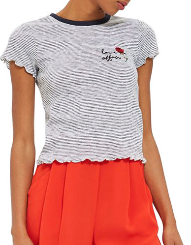 Topshop Love Affair Embroidered Tee-NAVY BLUE-UK 6/US 2