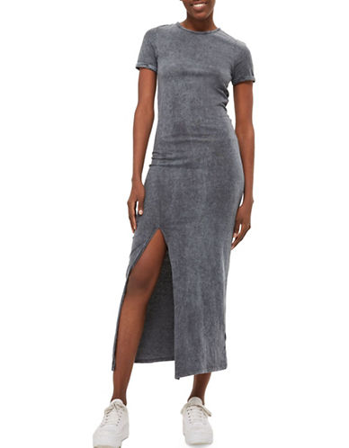Topshop Washed Split Front Midi Dress-GREY-UK 6/US 2