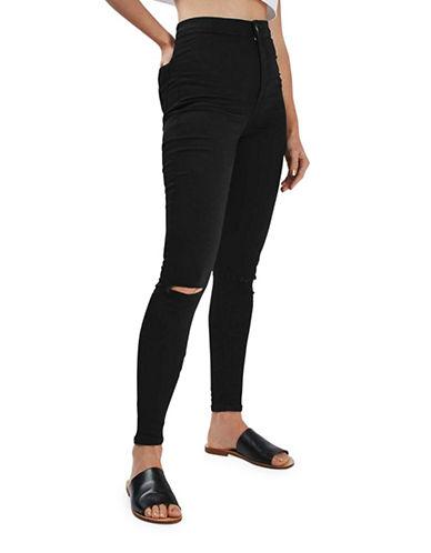 Topshop TALL MOTO Ripped Joni Jeans-BLACK-30X36