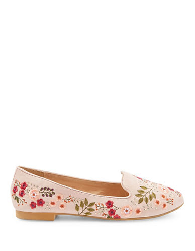 Topshop Sugar Embroidered Flat Shoes-NUDE-EU 37/US 6.5