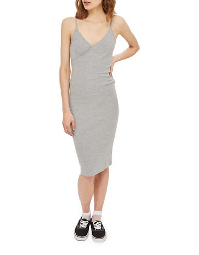 Topshop Strappy Midi Bodycon Dress-GREY-UK 6/US 2